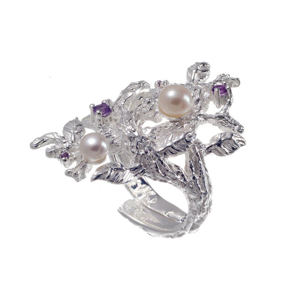 Fern & Leaf Tierra Perla Ring-Rings-AdiOre Jewels