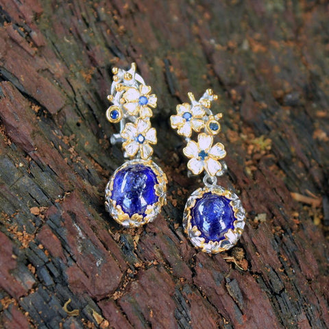 Fern And Leaf Flemma Azul Earring