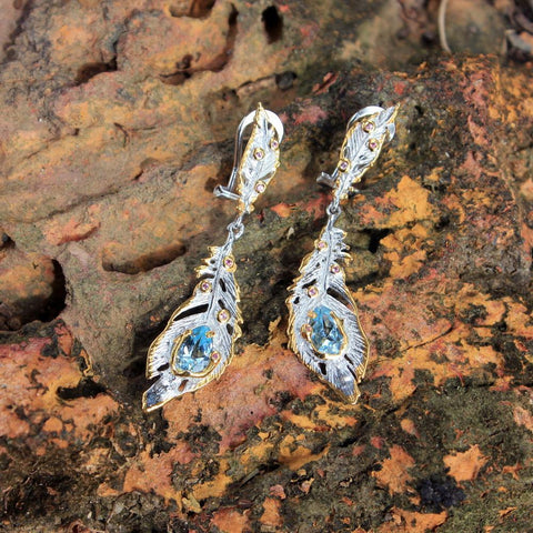 Fern And Leaf Flemma Azul Earring-Earrings-AdiOre Jewels