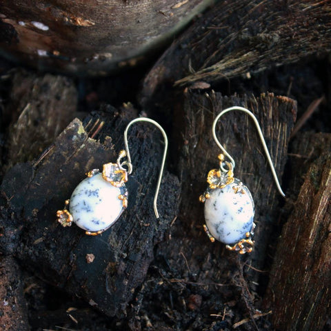 Fern And Leaf Tierra Blanca Earring-Earrings-AdiOre Jewels