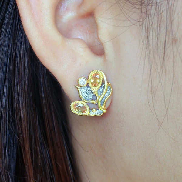 Fern And Leaf Flemma Amarillo Earring-Earrings-AdiOre Jewels