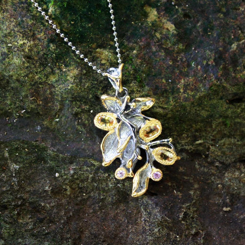 Fern And Leaf Flemma Amarillo Pendant-Pendants-AdiOre Jewels