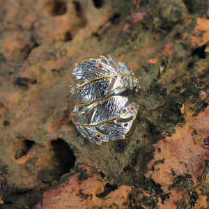 Fern And Leaf Flemma Mezclado Ring-Rings-AdiOre Jewels
