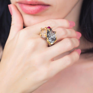 Designer 925 silver ring with rutiled quartz, red ruby, golden edges