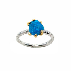 Rough Stone - 925 Sterling Silver Ring, Rough Faceted Apatite, Plated with 3 Micron 22K Yellow Gold and White Rhodium