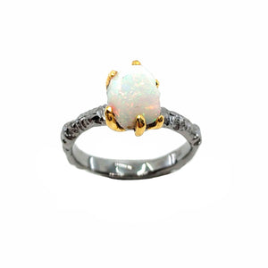 Rough Stone - 925 Sterling Silver Ring, Rough Faceted Ethiopian Opal, Plated with 3 Micron 22K Yellow Gold and Grey Ruthenium