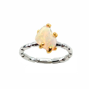 Rough Stone - 925 Sterling Silver Ring, Rough Faceted Ethiopian Opal, Plated with 3 Micron 22K Yellow Gold and White Rhodium