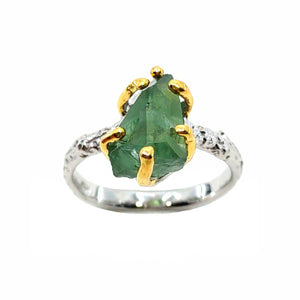 Rough Stone - 925 Sterling Silver Ring, Rough Faceted Tourmaline, Plated with 3 Micron 22K Yellow Gold and White Rhodium