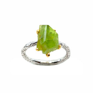 Rough Stone - 925 Sterling Silver Ring, Rough Faceted Peridot, Plated with 3 Micron 22K Yellow Gold and White Rhodium