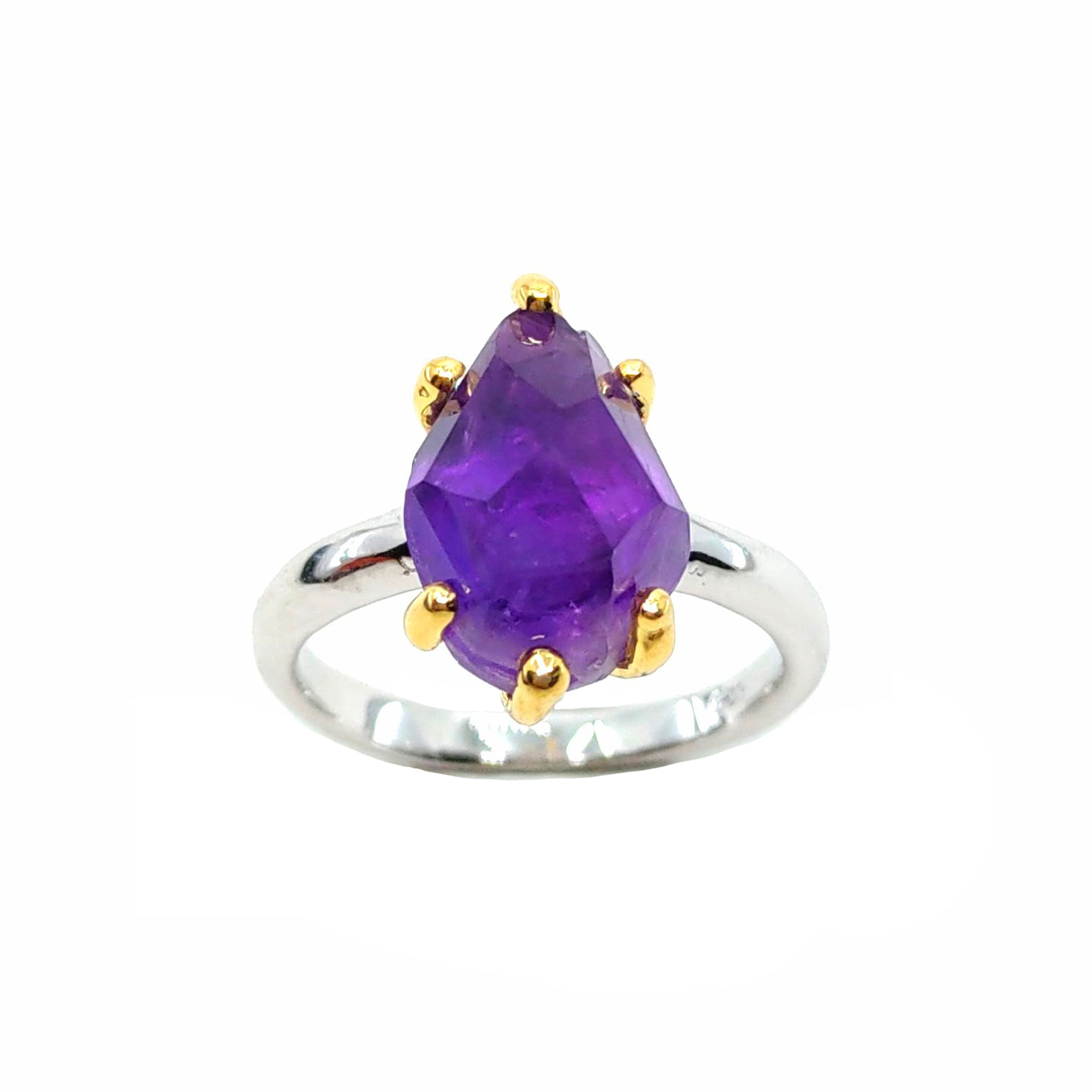 Rough Stone - 925 Sterling Silver Ring, Rough Faceted Amethyst, Plated with 3 Micron 22K Yellow Gold and White Rhodium
