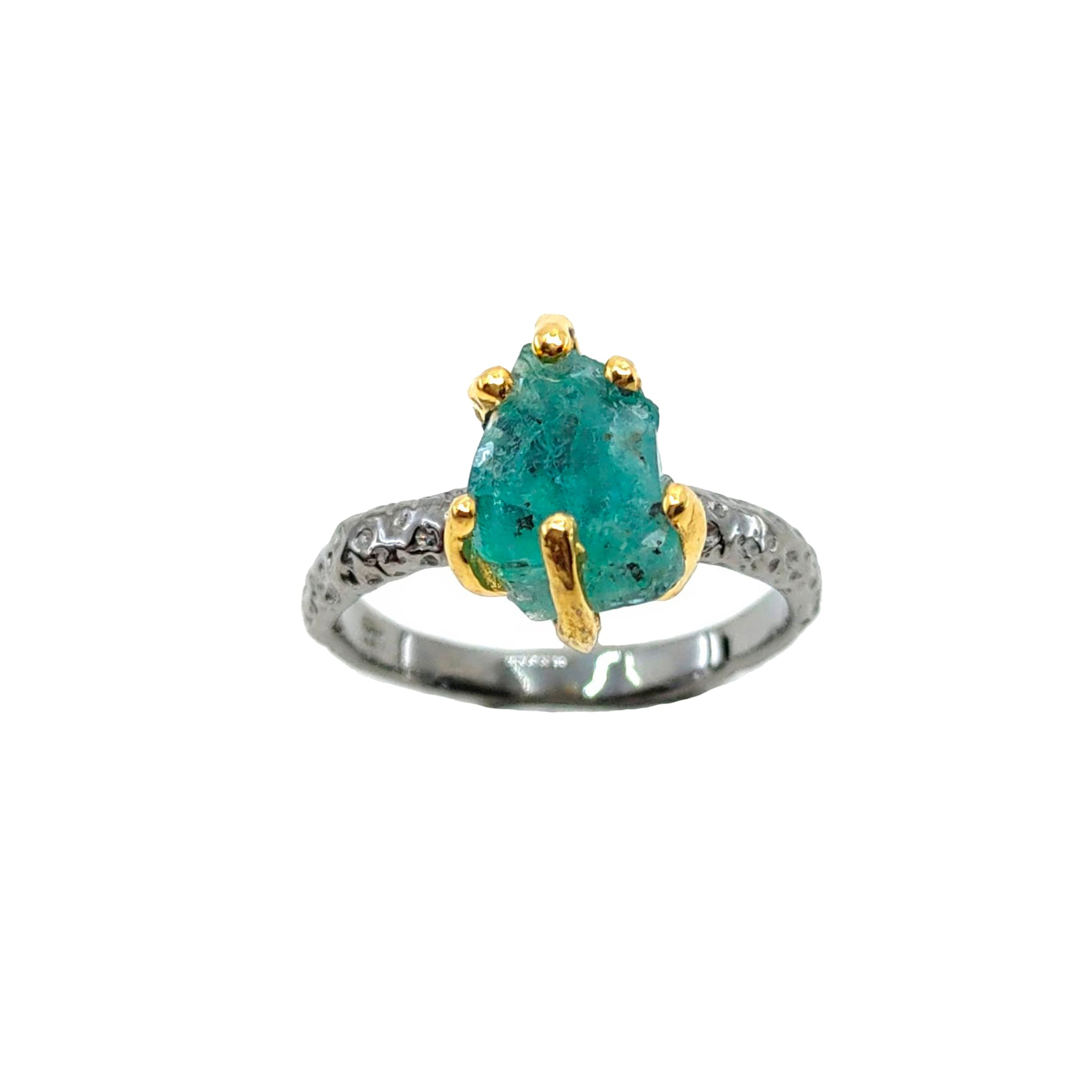 Rough Stone - 925 Sterling Silver Ring, Rough Faceted Emerald, Plated with 3 Micron 22K Yellow Gold and Grey Ruthenium
