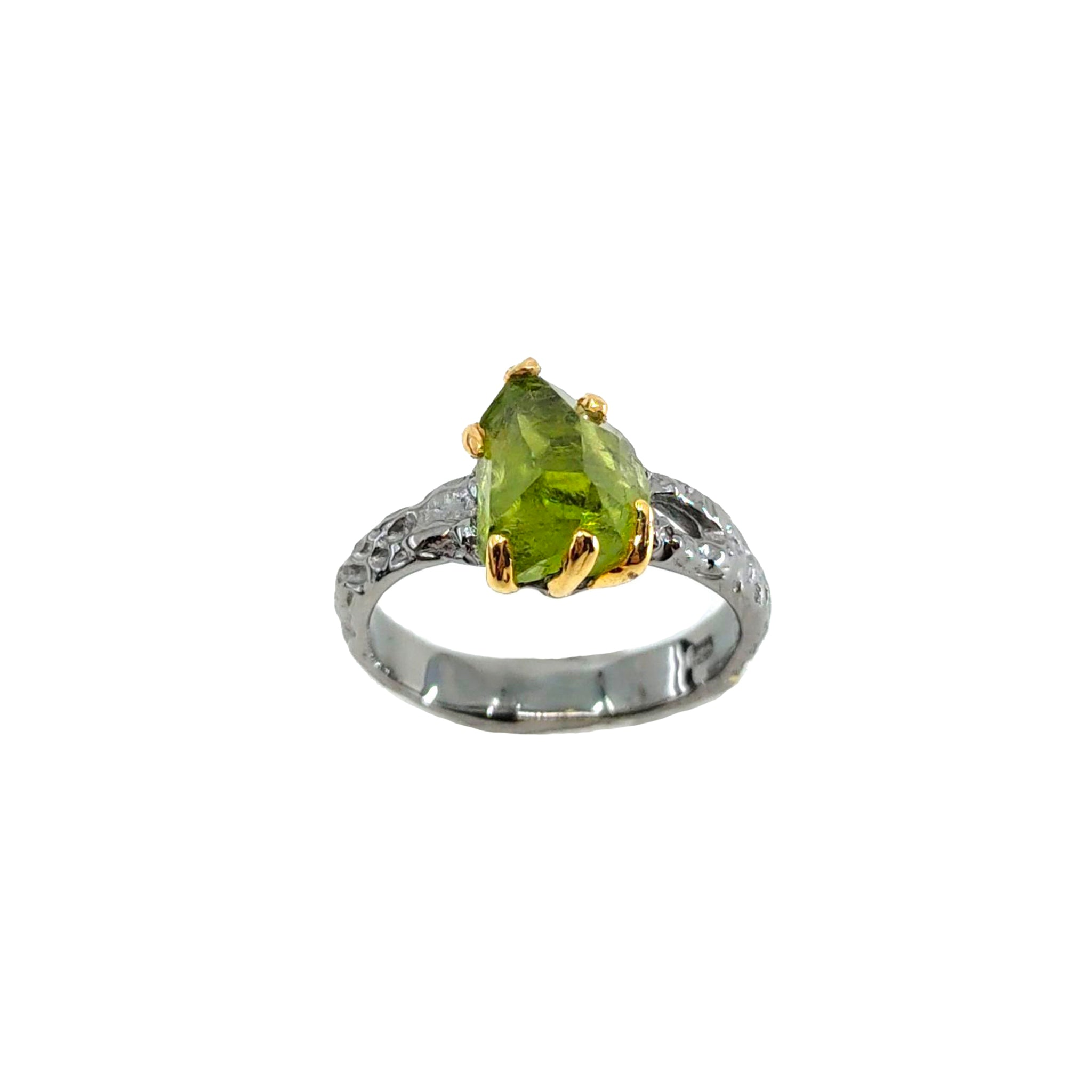 Rough Stone - 925 Sterling Silver Ring, Rough Faceted Peridot, Plated with 3 Micron 22K Yellow Gold and Grey Ruthenium