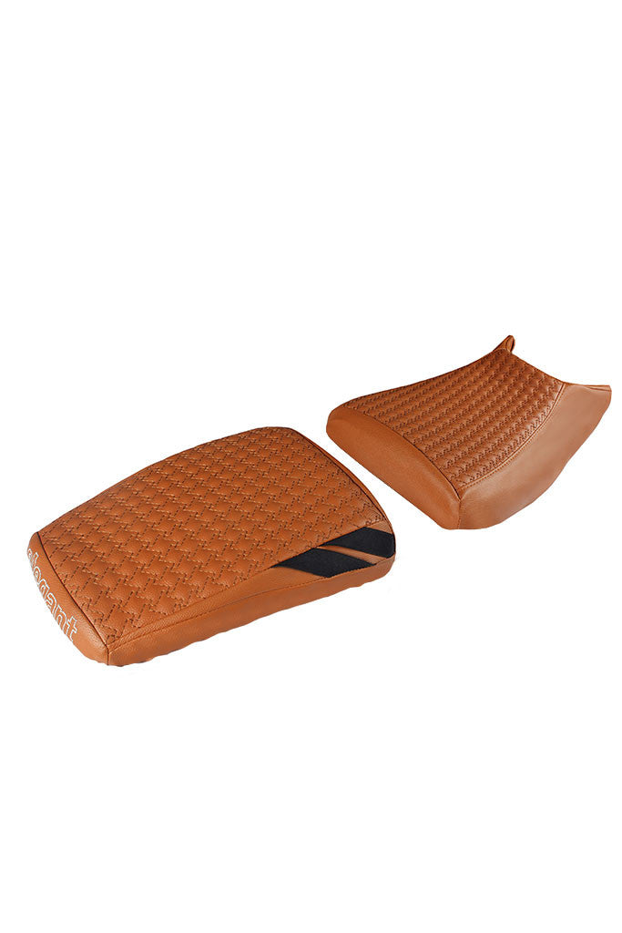 Rodeo Luxury Twin Bike Seat Cover Tan with Black Side Detail