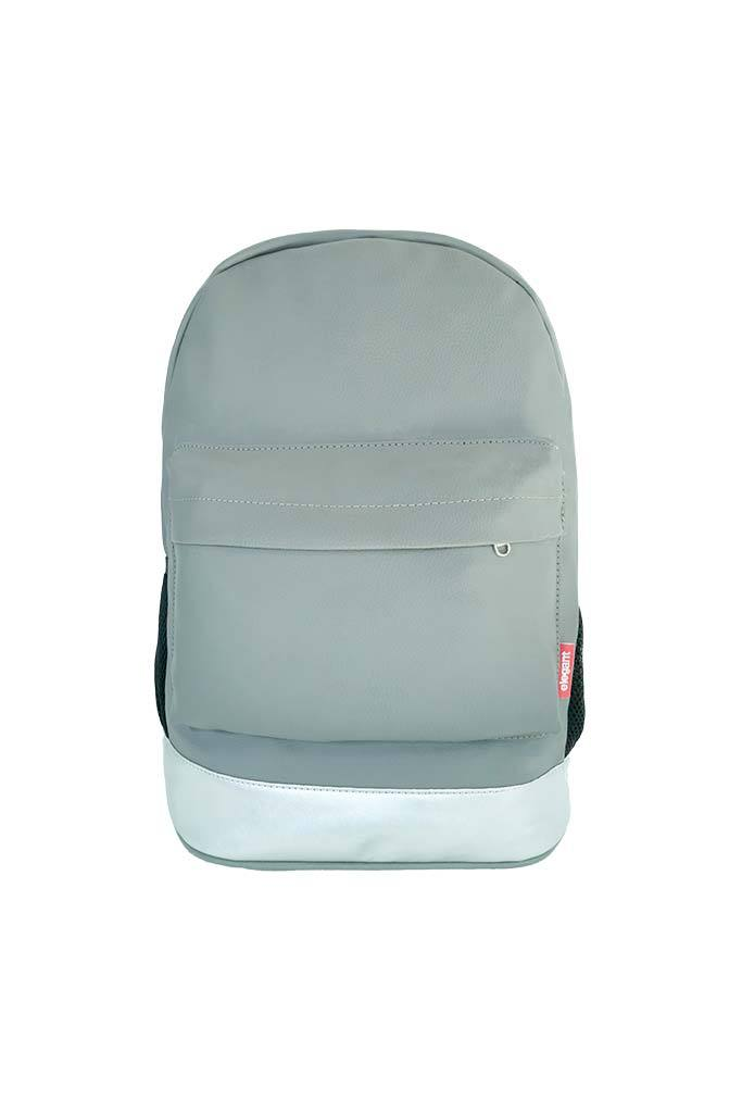 Leatherette Laptop Backpack Grey and Silver