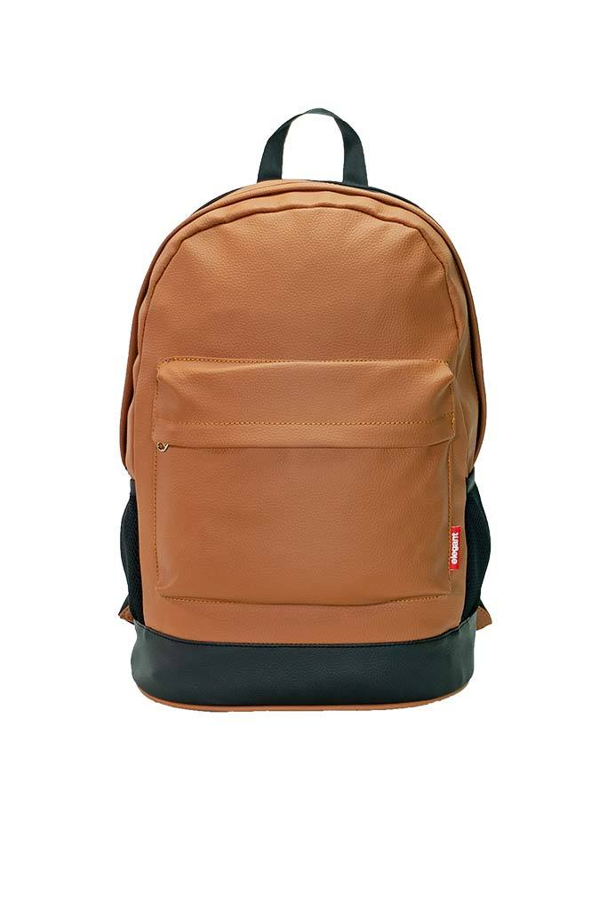 Leatherette Laptop Backpack Tan and Black