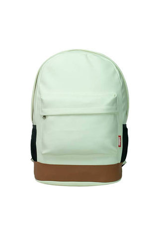 Leatherette Laptop Backpack White and Tan