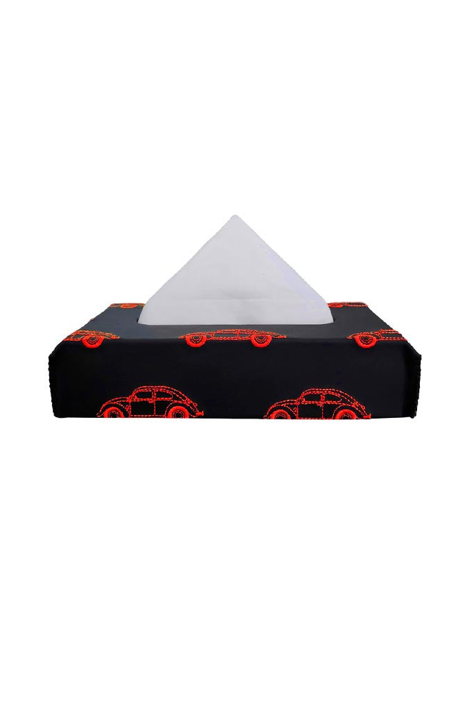 Nappa Leather Vintage 1 Tissue Box Black and Red