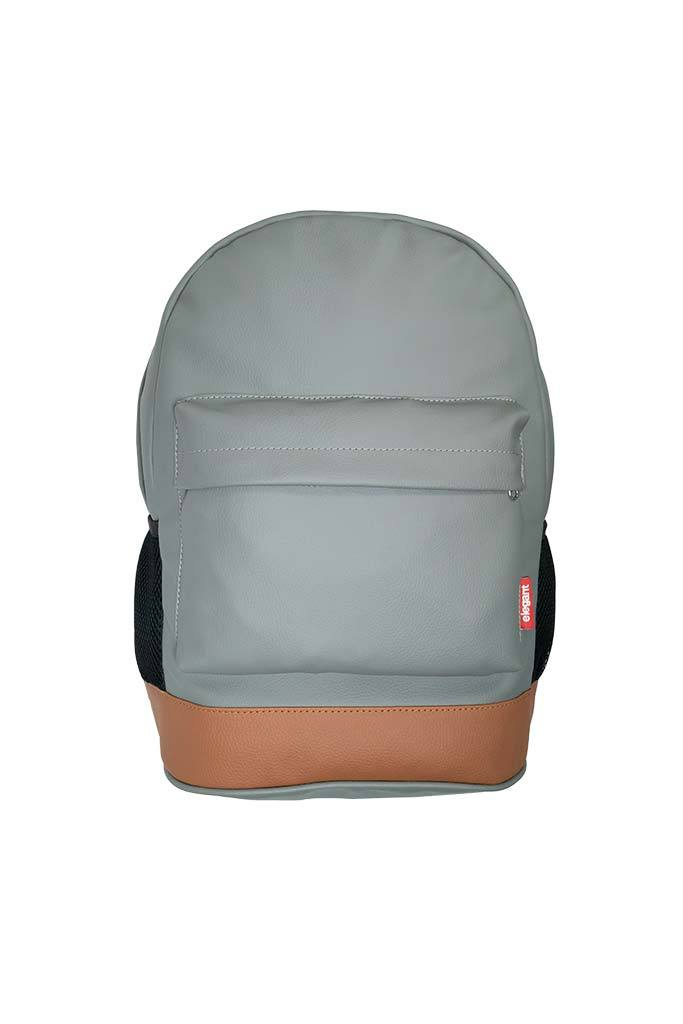 Leatherette Laptop Backpack Grey and Tan