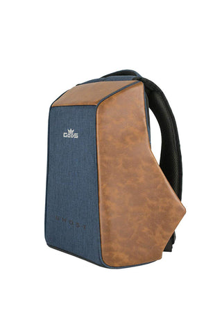 Road Gods Ghost Anti-Theft Laptop Backpack Blue and Tan