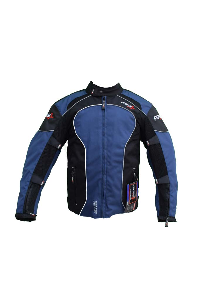 PGS Riding Gears - All Season Mesh Protective Riding Jacket Blue