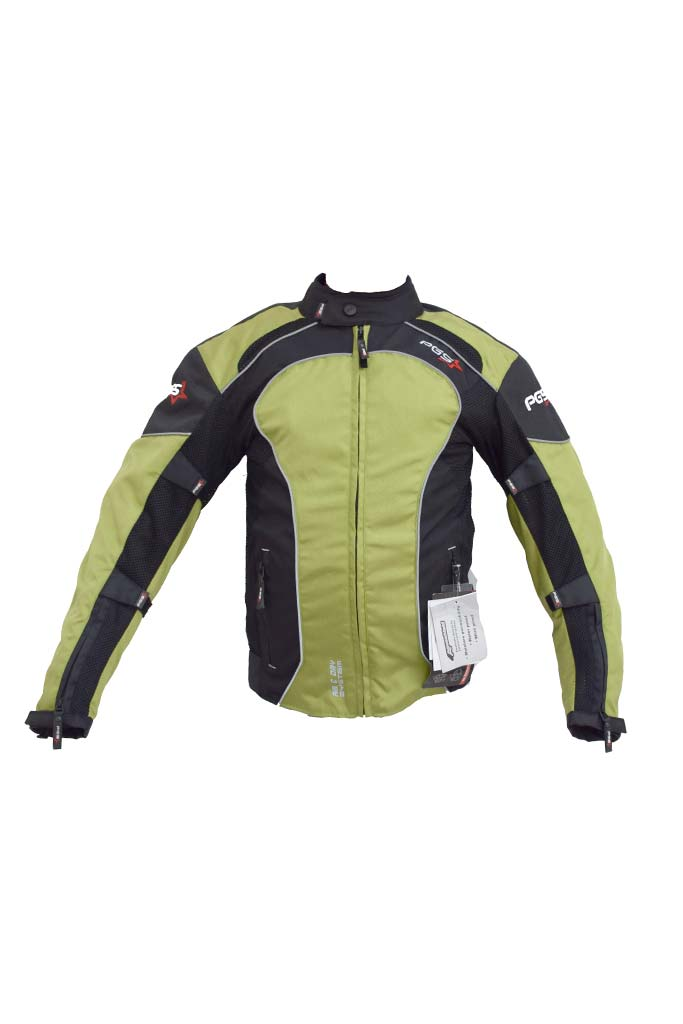 PGS Riding Gears - All Season Mesh Protective Riding Jacket Green