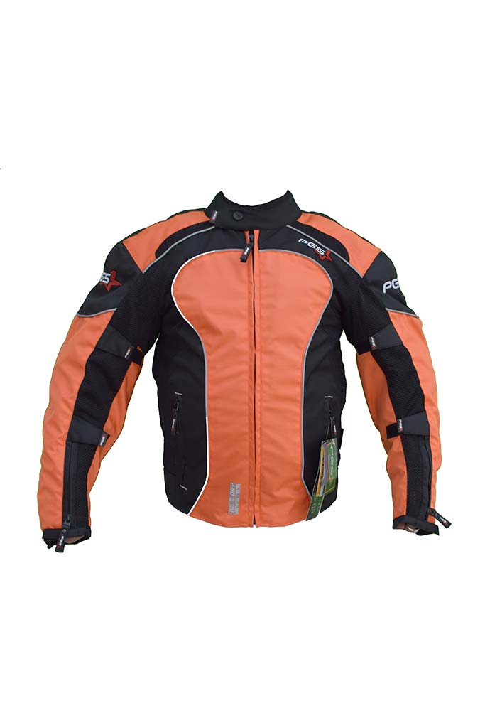 PGS Riding Gears - All Season Mesh Protective Riding Jacket Orange