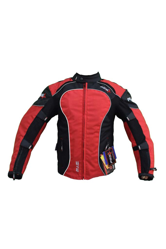 PGS Riding Gears - All Season Mesh Protective Riding Jacket Red