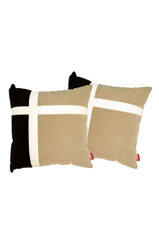 Velvet Comfy Cushion Beige and Black (Set of 2) Style 4