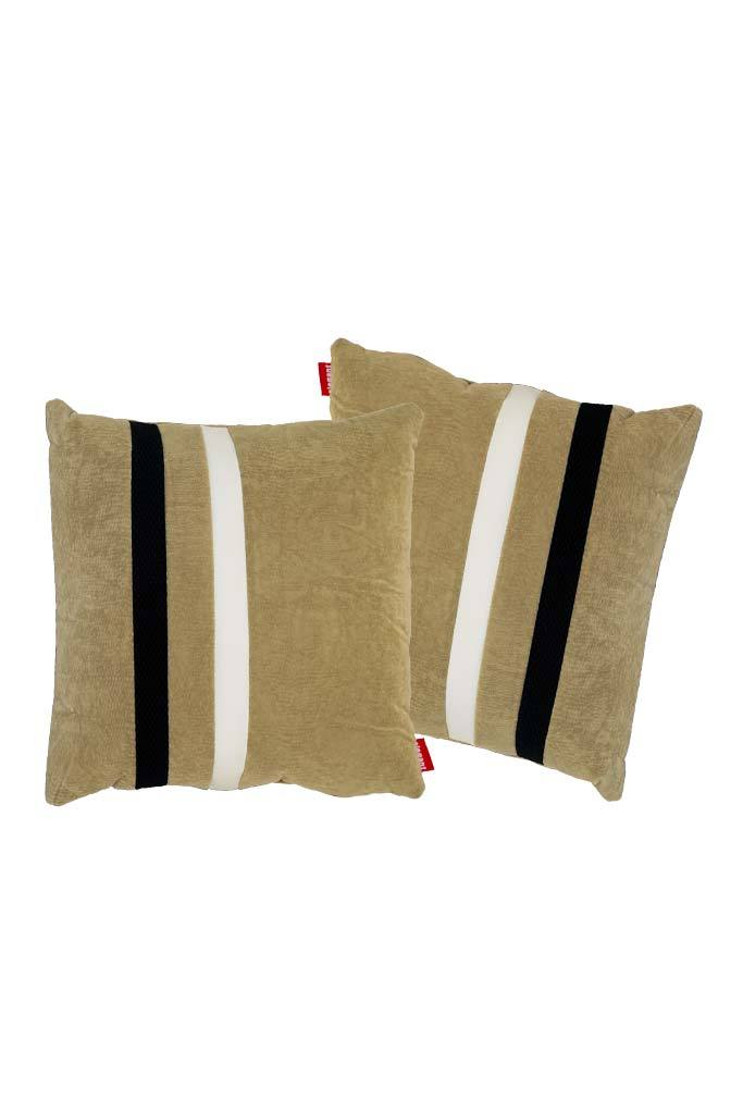 Velvet Comfy Cushion Beige and Black (Set of 2) Style 3
