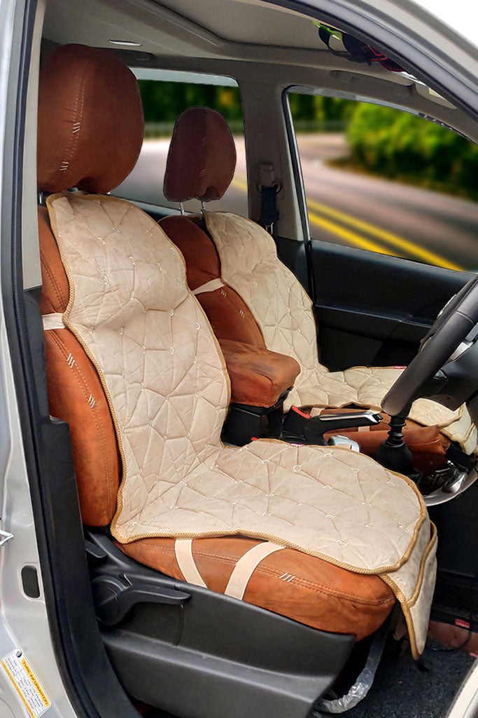 Space CoolPad Full Car Seat Cushion Beige (Set of 2)