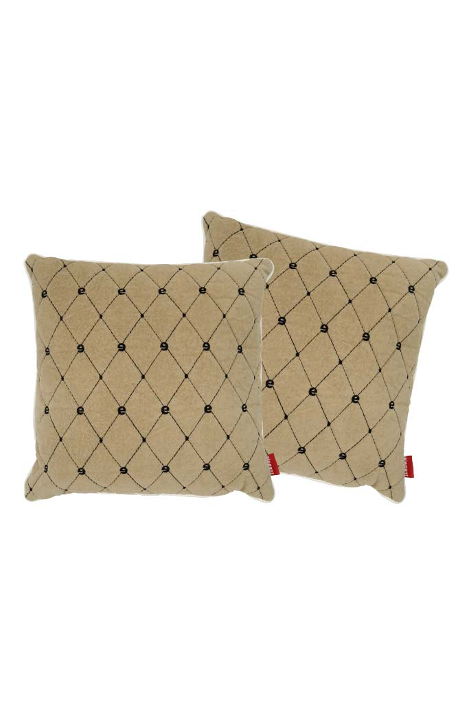 Velvet Comfy Cushion Beige and Black (Set of 2) Style 1
