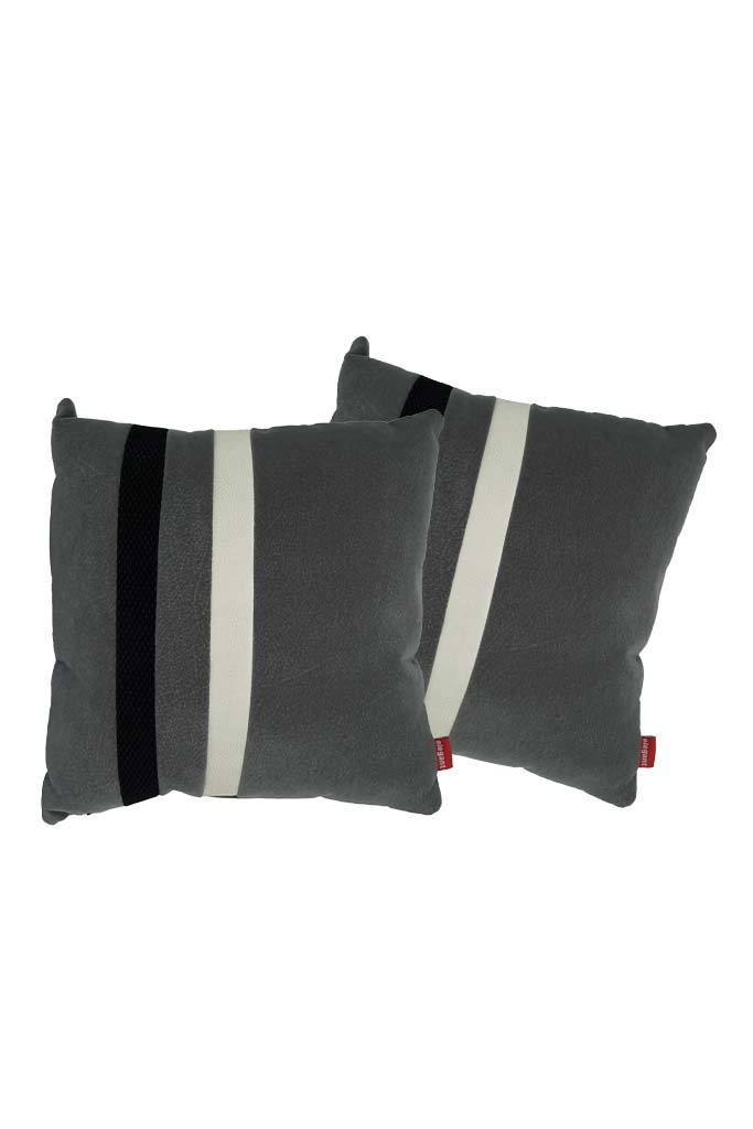Velvet Comfy Cushion Dark Gray and Black (Set of 2) Style 3