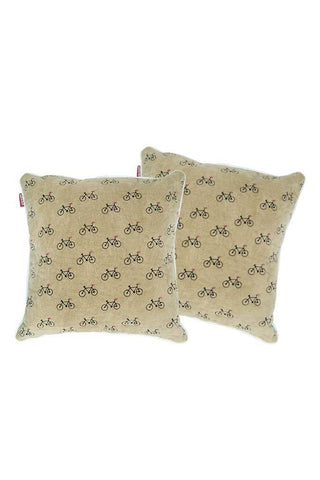 Velvet Comfy Cushion Beige and Black (Set of 2) Style 2