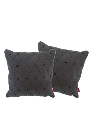 Velvet Comfy Cushion Dark Gray and Black (Set of 2) Style 1