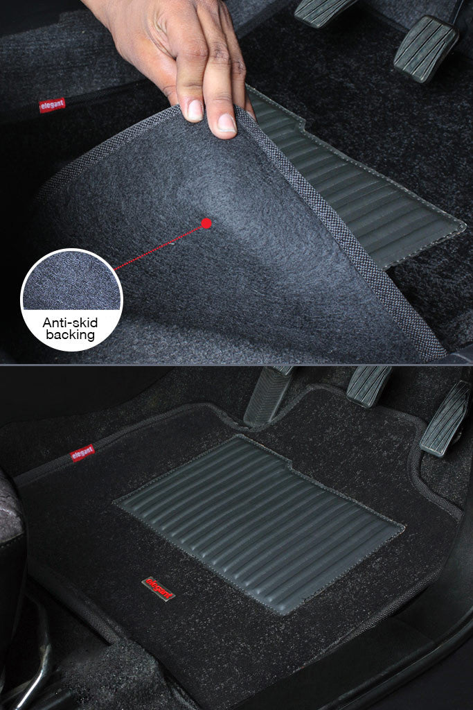 3D Carpet Car Floor Mat Black (Set of 5)