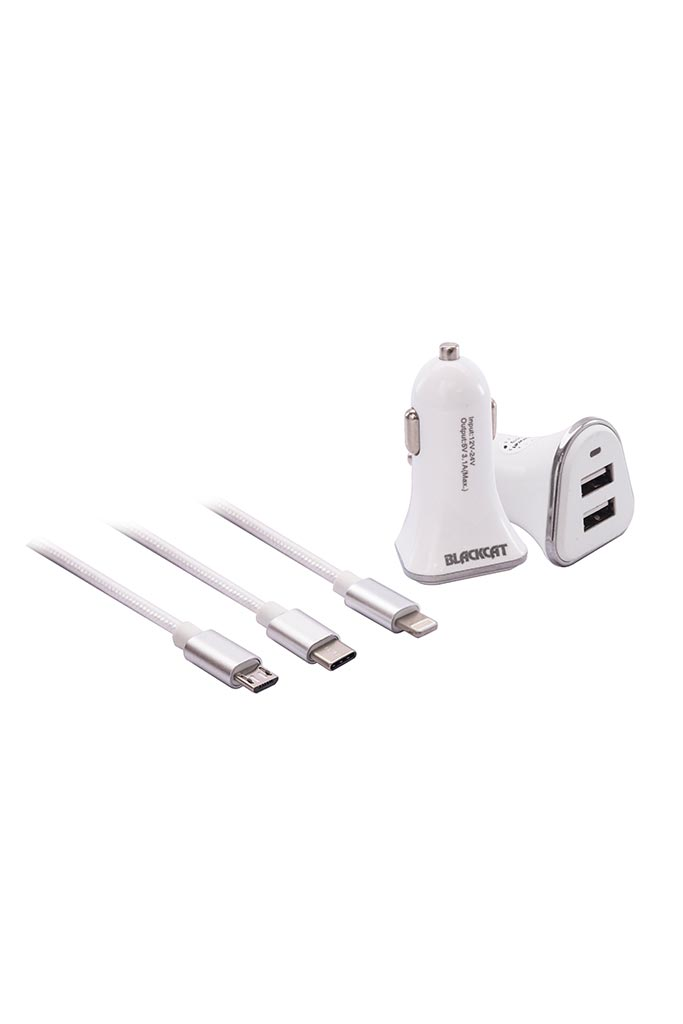 Blackcat Dual USB Mobile Charger with 3 in 1 Braided Cable