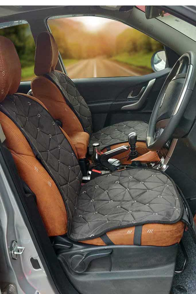 Space CoolPad Full Car Seat Cushion Black and Grey (Set of 2)
