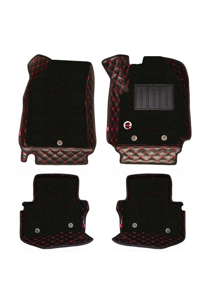 Royal 7D Car Floor Mat Black and Red (Set of 4)
