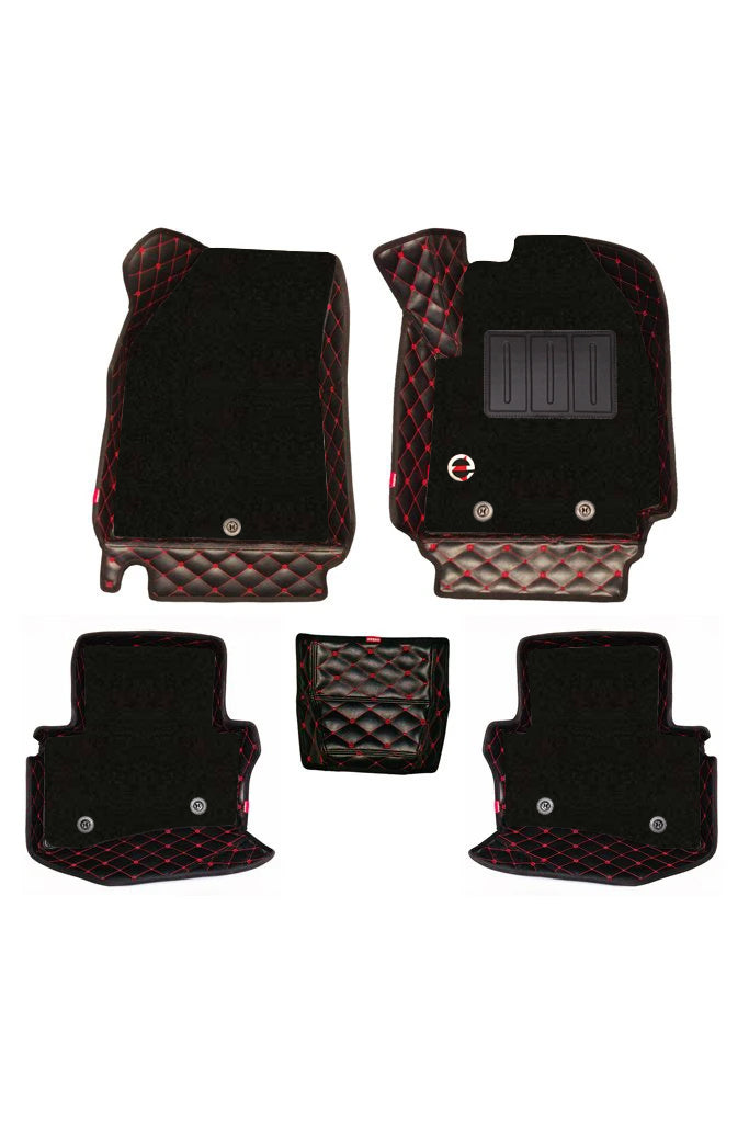 Royal 7D Car Floor Mat Black and Red  (Set of 5)