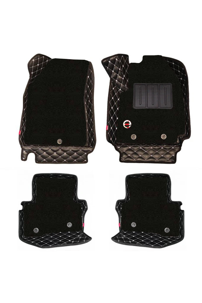 Royal 7D Car Floor Mat Black and White (Set of 4)