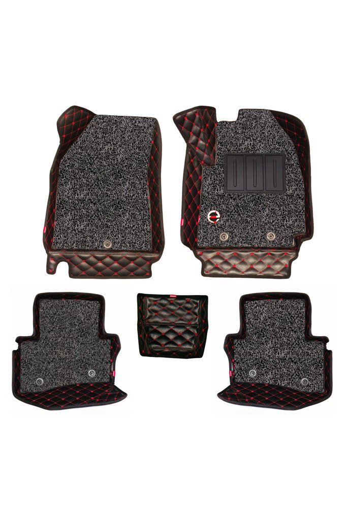 7D Car Floor Mat Black and Red  (Set of 5)
