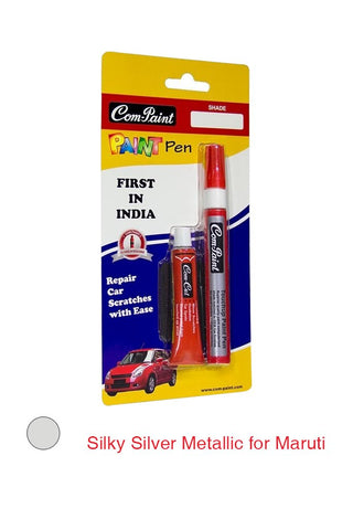 Com-Paint Pen Kit Silky Silver Metallic for Maruti Cars