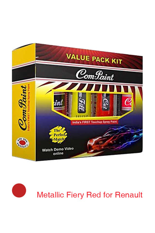 Com-Paint Value Pack Kit Metallic Fiery Red for Renault Cars