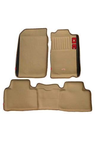 Diamond 3D Car Floor Mat Beige And Black (Set of 3)