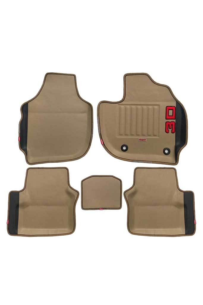 Diamond 3D Car Floor Mat Beige and Black (Set of 5)