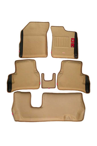 Diamond 3D Car Floor Mat Beige And Black (Set of 6)