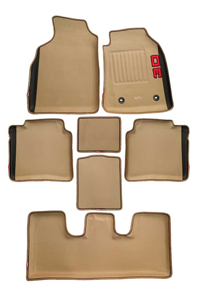 Diamond 3D Car Floor Mat Beige And Black (Set of 7)
