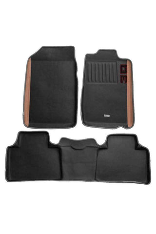 Diamond 3D Car Floor Mat Black and Beige (Set of 3)