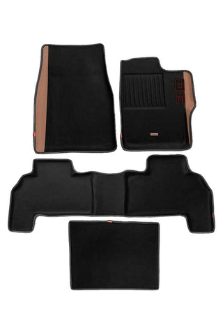 Diamond 3D Car Floor Mat Black and Beige (Set of 4)