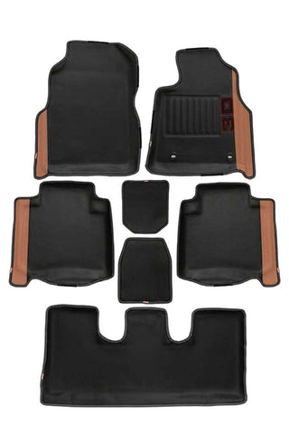 Diamond 3D Car Floor Mat Black and Beige (Set of 7)